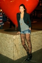 black Max Mara blazer - black Steve Madden shoes - black lace mall kiosk tights