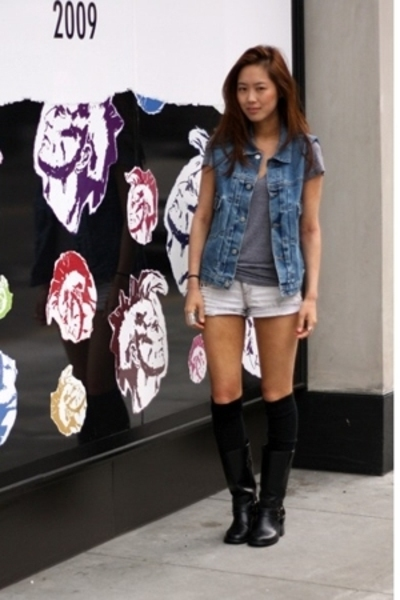 blue Levis vest - black boots - gray Urban Outfitters t-shirt