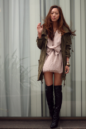 pink top - black boots - green jacket - beige skirt
