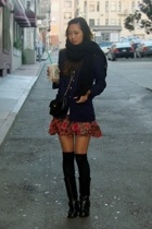 blazer - forever 21 skirt - Via Spiga socks - vintage boots - Chanel purse