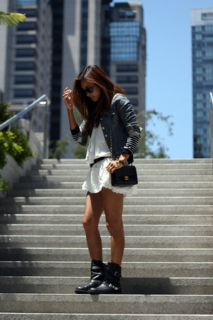 white vintage dress - black boots - black cardigan h&m jacket