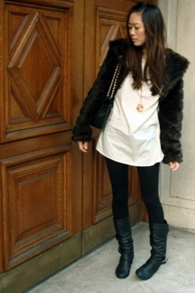 vintage jacket - vintage top - Wet Seal tights - Steve Madden shoes - Chanel lam