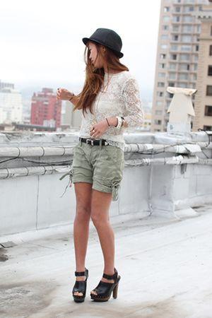 white lace top - black Zara shoes - green capri hollister shorts