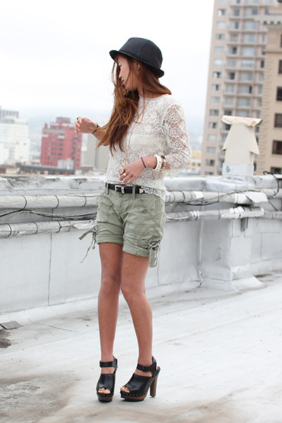 white lace top - black Zara shoes - green capri hollister shorts