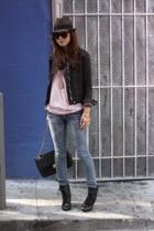 vintage jacket - f21 shirt - zanadi jeans - Steve Madden boots