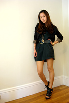 black big belt H&M belt - black venetian zipper Bebe shoes