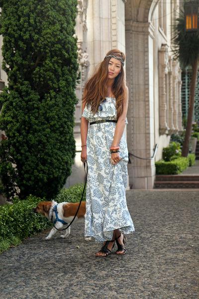 blue Ruffled Floral Maxi dress