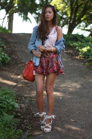 pink floral f21 skirt - white H&M shoes - blue denim shirt H&M jacket