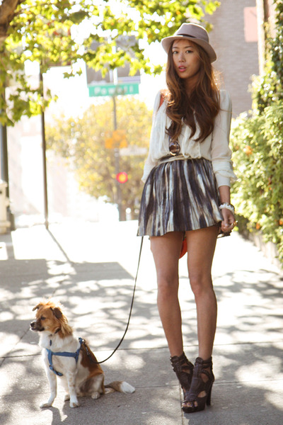 white blouse Eryn Brinie - green H&M skirt