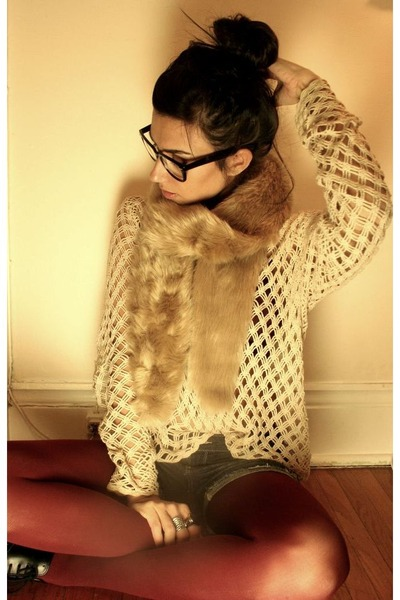 joe fresh style scarf - thrifted vintage sweater - Aldo tights