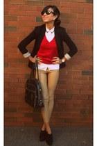 Zara sweater - wilfred leggings - structured Zara blazer - Ray Ban sunglasses
