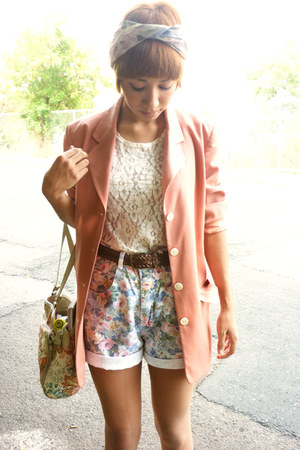 salmon moms blazer - eggshell 1 thrifted bag - bubble gum 1 thrifted shorts - cr