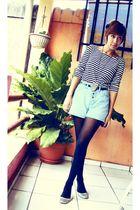 black moms shirt - black grandmas gift belt - blue thrifted shorts - black thrif