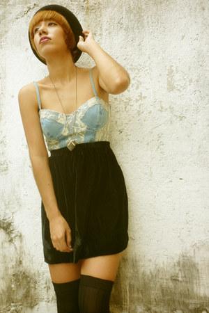 light blue denim Zara dress - black Zara shoes - black f21 hat