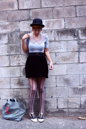 black f21 shoes - black f21 hat - periwinkle Zara shirt - black Zara tights - eg