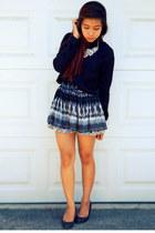skirt - black silk blouse - leather wedges heels