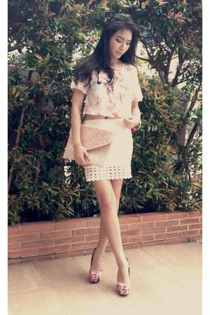 floral organza VanillaMood blouse - floral heels Aldo heels