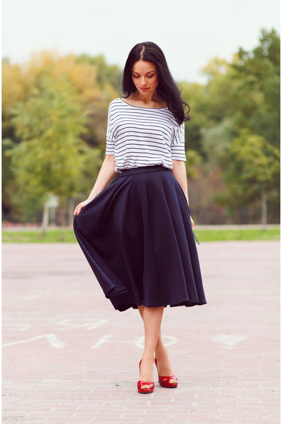 navy asos skirt - white reserved top - red Casadei heels