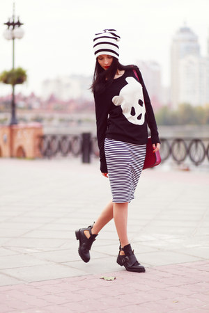 asos sweater - Zara boots - asos hat - cambridge satchel bag - asos skirt