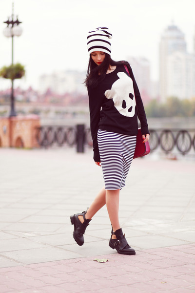 asos sweater - Zara boots - asos hat - cambridge satchel bag - asos skirt