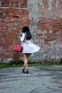 Heather-gray-zara-dress-silver-kensie-coat-red-selma-michael-kors-bag