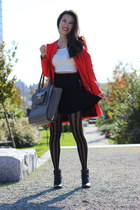 black striped H&M tights - black leather Joie boots - red Zara coat
