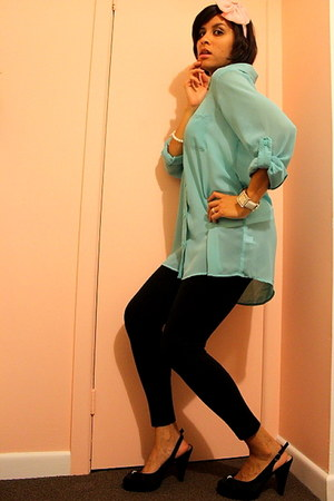 chiffon blouse - Valley Girl tights - no1 shoe warehouse heels