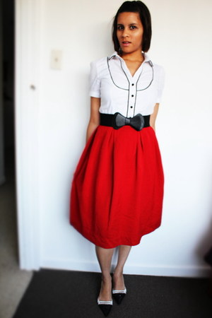 black shoes - white shirt - red thick cotton skirt