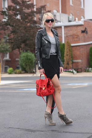 Helmut Lang skirt - brian atwood boots - Zara jacket - PROENZA SCHOULER bag