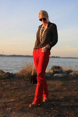 J Crew blouse - Dolce Vita boots - Chanel bag - J Crew pants