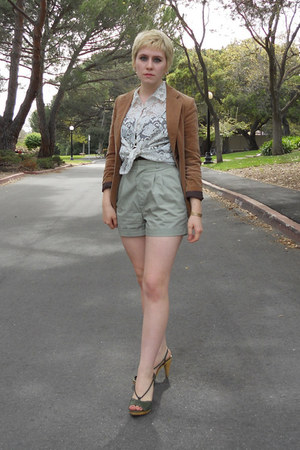 bronze velour thrift blazer - lime green thrift shorts - dark green via thrift s
