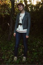 tan thrift shoes - navy BDG jeans - gray Frenchi jacket - cream thrift top - arm