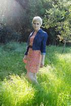 dark brown cowboy thrift boots - salmon shift vintage dress - navy pleated denim