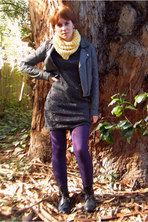deep purple Urban Outfitters tights - black thrift dress - charcoal gray Frenchi