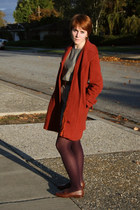 burnt orange thrift coat - olive green thrift dress - deep purple payless tights