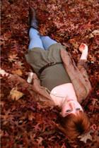 light brown Wrangler blazer - army green American Apparel dress - dark brown thr