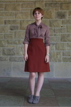 brown thrift dress - gray BC footwear shoes - white vintage accessories