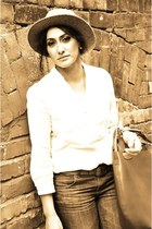 Mango blouse - Topshop jeans - vintage hat - Zara bag - Topshop earrings