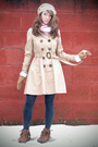 Beige-top-pink-scarf-brown-jacket-beige-coat-gray-leggings-brown-boots