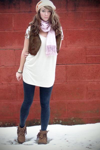 beige top - pink scarf - brown H&M jacket - beige H&M coat - gray leggings - bro