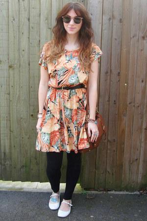 carrot orange vintage dress - black leggings - dark brown satchel Primark bag -