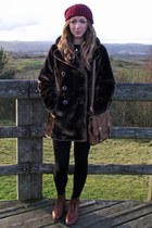 brick red Topshop hat - dark brown new look coat - black vintage jumper - brown