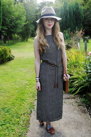 vintage dress - asos hat - navajo print vintage from Ebay bag