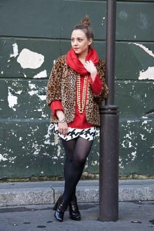 bronze fake fur H&M coat - black Louis Vuitton boots - white balenciaga skirt