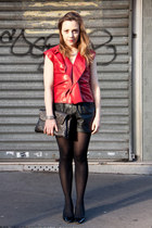 black leather Urban Outfitters shorts - ruby red leather Louis Vuitton top