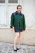 forest green vintage jacket - blue vintage shirt - black vintage shirt