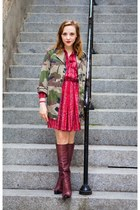 maroon leather Louis Vuitton boots - maroon vintage dress