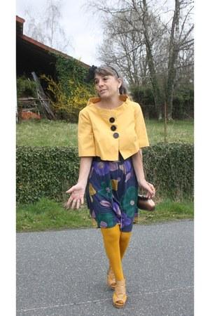 liu jo dress - gold Rinascimento blazer - gold Calzedonia tights - bronze copper