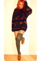khaki green Topshop socks - vintage jumper - Dorothy Perkins heels