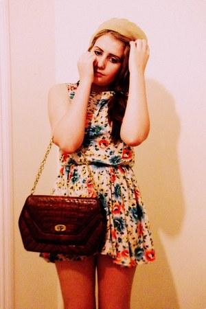 Topshop dress - vintage hat - vintage bag